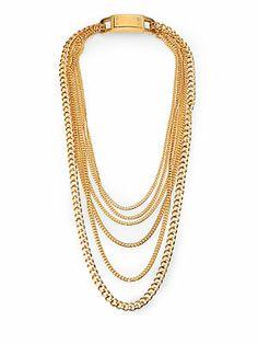 Michael Kors Multi-Chain Bib Necklace/Gold
