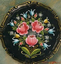 Bravura bauernmalerei by carl larson rosemaling magazine article budget priced One Stroke Painting, Tole Painting, Painting On Wood, Painting & Drawing, Rosemaling Pattern, Norwegian Rosemaling, Folk Art Flowers, Scandinavian Folk Art, Pintura Country