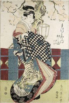 Kikugawa Eizan  Japanese (1787 - 1867)   Courtesans Matsushima of the Matsubaya and Yashio of the Ogiya…,   Late Edo period, c. early-mid 19th century  Print  Edo period, Late, 1789-1868  One of two prints from an ukiyo-e woodblock printed ôban triptych; ink and color on paper