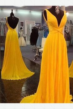 Long Prom Dresses Yellow, Modest Formal Dresses for Teens, V Neck Military Ball Dresses Chiffon, A Line Pageant Dresses Open Back Chiffon Evening Dresses, Backless Prom Dresses, A Line Prom Dresses, Cheap Prom Dresses, Dresses For Teens, Chiffon Dress, Party Dresses, Dress Prom, Prom Dreses