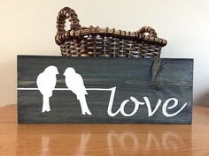 Rustic Wall Decor Love Sign blue Wood by BeautifyMyHouseShop