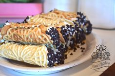 Homemade cannoli using a Pizzelle maker.