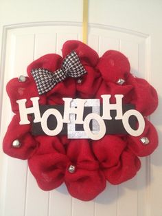 Christmas Burlap Wreath Ho Ho Ho by LilyandTuck on Etsy, $60.00