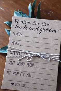 engagement party ideas decorations ~MATCHING GAMES HERE~ Wishes for the Bride and Groom Bridal Shower Game These rustic Wishes for the Bride and Groom cards are a fun Brunch Wedding, Our Wedding, Dream Wedding, Wedding Ideas, Wedding Pics, Wedding Things, Summer Wedding, Bridal Shower Activities, Bridal Shower Games