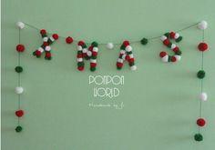 Navidad guirnalda Garland de Pom Pom cartas de por PomPomMyWorld