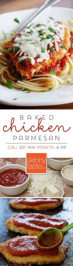 Baked Chicken Parmesan- Delicious, easy, and quick. 6 ingredients and about half an hour The Best Chicken Parmesan recipe, made a bit healthier! Breaded chicken cutlets are baked, not fried yet the chicken is so moist and full of flavor. No Calorie Foods, Low Calorie Recipes, Healthy Recipes, 250 Calorie Meals, Free Recipes, Low Calorie Pasta, Yummy Recipes, Healthy Food, Chicken Parmesan Recipes