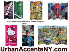 cartoon, sports and television characters printed on a room divider screen