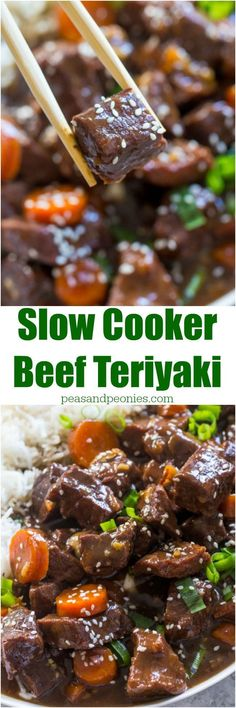 Slow Cooker Beef Teriyaki is very easy to make and a perfect weeknight meal. Just add all the ingredients to the crockpot and cook.
