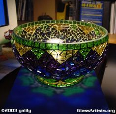 glass mosaic  peacock bowl