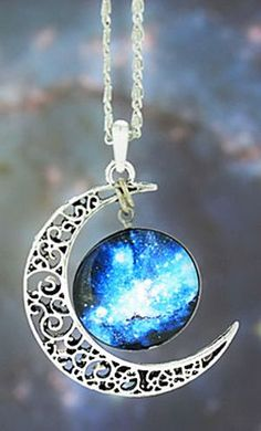 Galaxy Moon Necklace ♥
