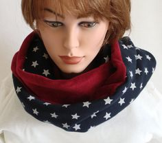 Infinity Scarf  Cowl  Stars blue white red warm by MermaidsHatbox
