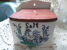 Vintage Salt Box with a Rooster by UniquelyMollie on Etsy