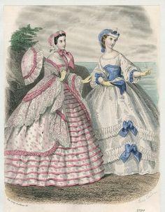 "Fashions of 1861. ""Seaside"" dress."