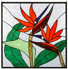 Love the stained glass birds of paradise. Stained Glass Quilt, Stained Glass Flowers, Stained Glass Designs, Stained Glass Projects, Stained Glass Patterns, Stained Glass Windows, Tropical Stained Glass Panels, Mosaic Art, Mosaic Glass