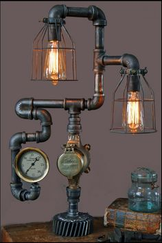 Hand made steam gauge lamp from salvaged parts.