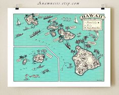 VINTAGE HAWAII MAP - size & color choices - personalize it - fun map to frame - perfect wedding or cottage housewarming gift - ocean decor