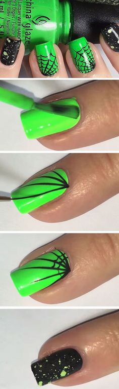 Radioactive Webs | 23 Easy Halloween Nail Art Ideas for Teens that are totally spooktastic!