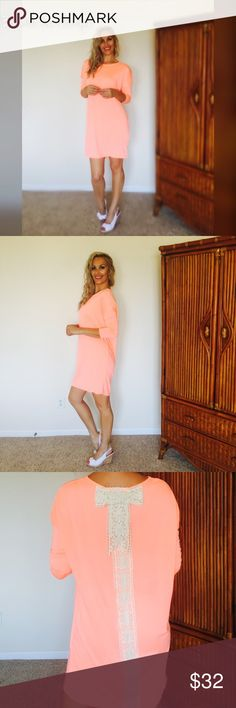 Gorgeous Dress W/ Crochet Trim Bow Super a fun dress! Love Love this color! Very soft, non-sheer. Over sized fit. Made in USA. Runs true to size. 95% Rayon   5% Spandex   Color: Neon Peach ❤️ Bohemian Sea Dresses Long Sleeve