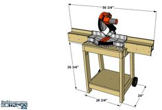 Rolling Miter Saw Stand Miter Saw Stand Plans, Diy Miter Saw Stand, Miter Saw Table, Mitre Saw Stand, Diy Table Saw, Woodworking Saws, Woodworking Projects, Woodworking Store, Chop Saw Stand