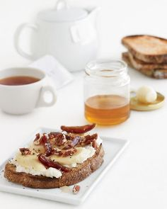 banana-ricotta toasts with pecans, dates, and honey #sandwiches