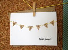 Glitter Bunting Invitation Set. $10.00, via Etsy.