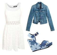 """""""Outfit vestido blanco corto"""" by turbopeka on Polyvore featuring moda, Pilot, White House Black Market y Roger Vivier"""