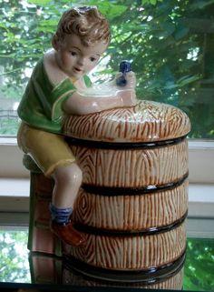 Vintage Cookie Jar Brunette Boy Churning butter on Green stool