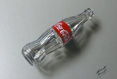 3D Art, Drawing an empty glass bottle of Coca-Cola