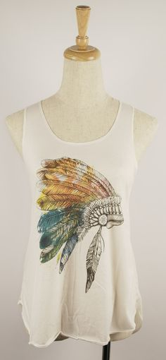 Red Indian Headdress Print Tank Top Vest