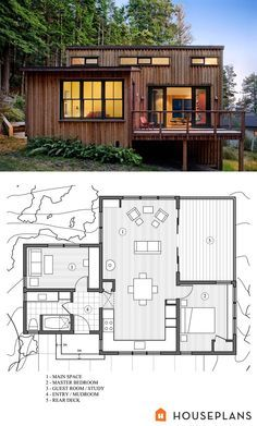 Would like room currently shown as office/guest slightly enlarged so it can be M&t. Closer to bath at night.  Plus it makes more sense for den to be off kitchen and deck in my opinion...   To be a perfect house this needs a screen porch maybe somewhere....  Modern Style House Plans - 2 Beds 1 Baths 840 Sq/Ft Plan #891-3 Other Floor Plan - Houseplans.com