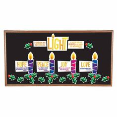 Celebrate the advent season in your learning space! Sure to brighten up Sunday School classroom décor, this bulletin board set comes with cutouts. Christmas Classroom Door, Christmas Door Decorations, Christmas Art, Church Decorations, Christmas Presents, Christmas Holidays, Christmas Ideas, Colorful Bulletin Boards, Holiday Bulletin Boards