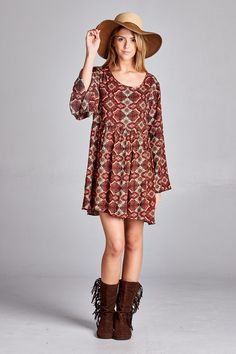 Arabesque Bell-Sleeve Dress