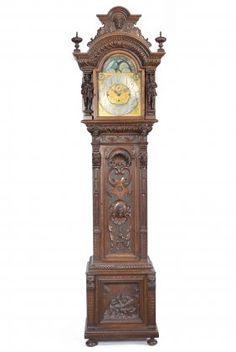 c1900 Renaissance tall clock, Tiffany & Co, NYC, case-prob Tobey Furniture Co, Chicago, mvt-JJ Elliot, London, oak, 102t, 14-13.