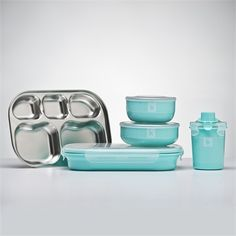 Iced Mint Stainless Steel Kids Dishware Set...oh my
