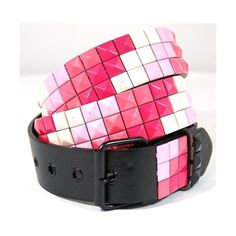 Black and Pink Pyramid Studded Leather Belt ❤ liked on Polyvore featuring women's fashion, accessories, belts, leather belt and pyramid stud belt