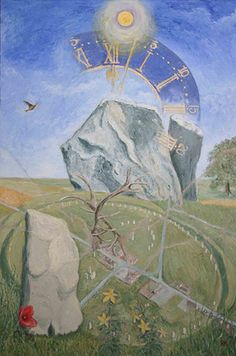"""Summer Solstice  Composition records the North Cove arrangement of massive standing stones at Avebury, which face the dawn horizon on Midsummer Day. It is believed a 'sighting stone', Stone """"F"""" once cast its shadow inside the cove, aligned with the summer solstice sunrise over Hackpen Hill about two kilometres east of Avebury. The antlers symbolise the thousands of antler picks which were used to excavate the vast ditch and berm around the stone circle, and carefully deposited on the floor…"""