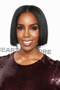 Check out Kelly Rowland's super shiny, center-parted bob at ELLE's 23rd Annual Women In Hollywood Awards on October 24, 2016.