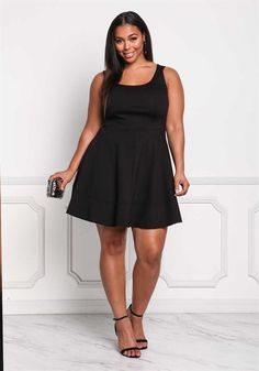 Plus Size Clothing | Plus Size Fit & Flare Skater Dress | Debshops