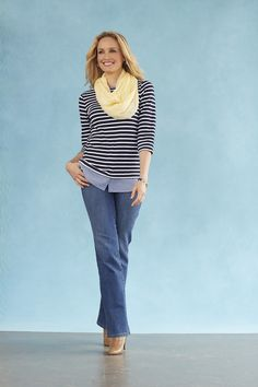 Master the layered look (without having to) with our boatneck top with chambre trim!