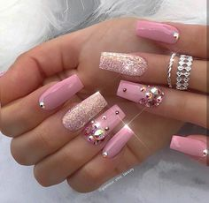 That Will Motivate You Beautiful Nails Elegant Nailart 30 - US Makeup Trends Acrylic Nail Designs, Nail Art Designs, Acrylic Nails, Nails Design, Design Art, Nail Designs With Gems, Coffin Nails, Design Ideas, Gorgeous Nails