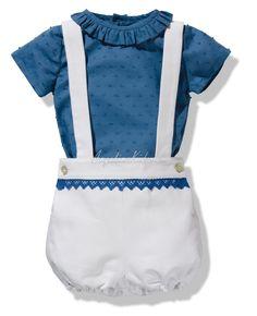 Conjunto de niño de piqué y plumeti azul