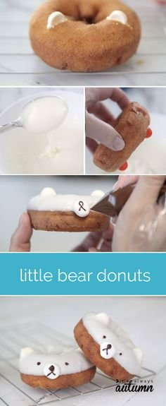 these little bear donuts are so adorable! they'd be a perfect lunchbox or after school treat. - It's Always Autumn Cute Desserts, Dessert Recipes, Donut Recipes, Cooking Recipes, Cute Food, Yummy Food, Cute Donuts, Churros, Creative Food