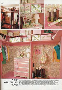 Bring your closet into the '70s! Here, a sloppy walk-in is converted into a bright, organized space with coordinated boot stuffers (rolled magazines covered with fabric), cloth covered boxes labeled with stenciled ribbons, and fabric lingerie bag. | Photos by Keith Scott Morton for Cosmopolitan, March 1978. #vintage #closet