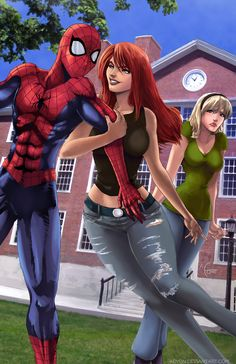Mary Jane and Gwen by Adyon.deviantart.com. What a whore.