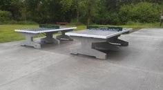 two concrete ping pong tables, concrete table tennis tables in the park