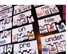 Word Identification Activity Prefixes and Suffixes Puzzles a great resource for teaching prefixes and suffixes in the younger grades! Students will match the words with their pictures to the appropriate prefix and suffix. Primary Teaching, Teaching Reading, Teaching Tools, Teaching Ideas, Phonics Reading, Teaching Grammar, Teaching Materials, Teaching English, Free Reading