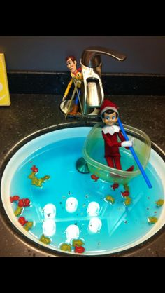 Fishing elf on shelf