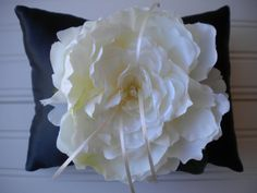 Ivory Peony Ring Bearer Pillow by DaniCalve on Etsy, $22.00