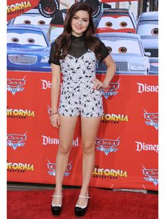 Ariel Winter wearing a nice sheer blouse and romper. #sheer #blouse #romper