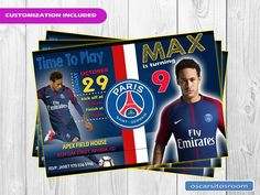 Neymar Paris Saint German Birthday Invitation / Soccer Neymar Birthday, Soccer Birthday, Kids Birthday Party Invitations, Birthday Party Decorations, Party Themes, Soccer Theme, Soccer Party, Psg, Football Cupcakes